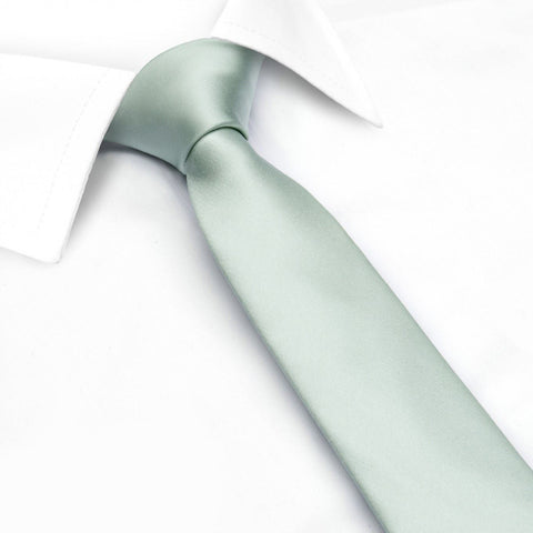 Plain Mint Slim Silk Tie