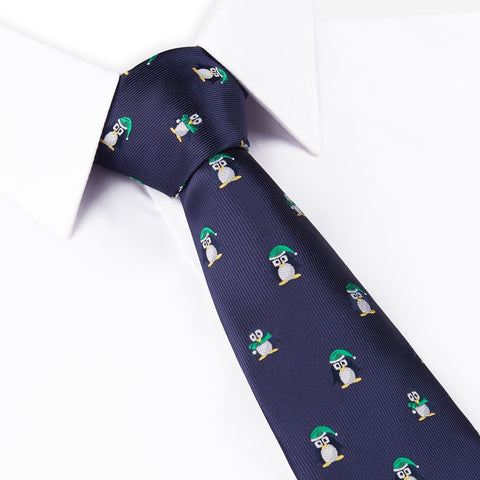 Navy Blue Christmas Penguin Tie