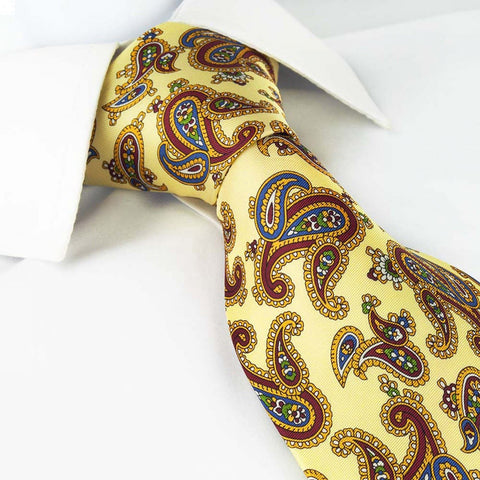 Pastel Yellow Silk Tie With Large Paisley Design