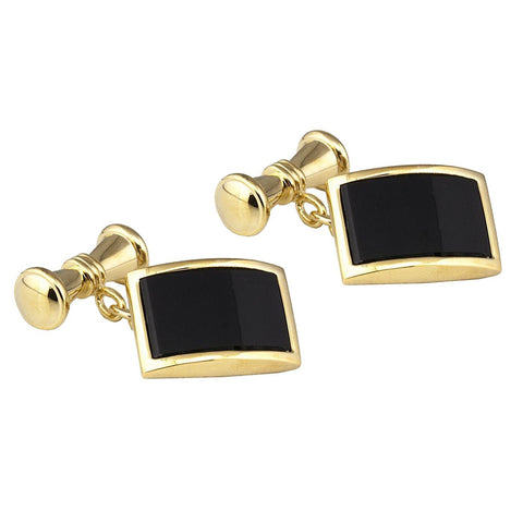 Gold Plated Black Stone Cufflinks