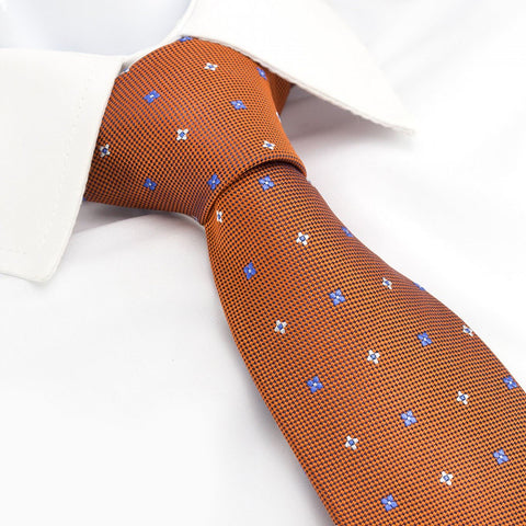 Orange & Blue Flower Spot Silk Tie