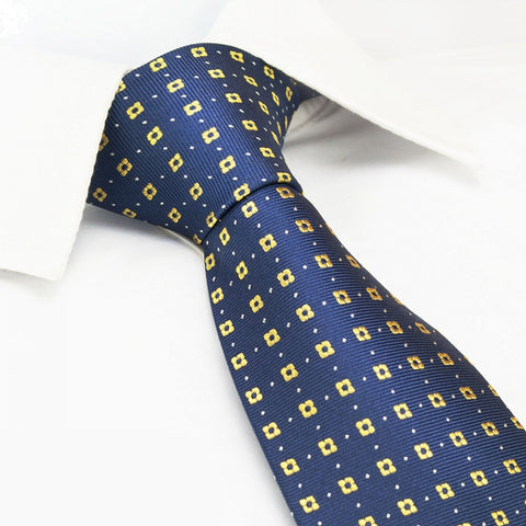 Navy & Yellow Flower Spot Silk Tie
