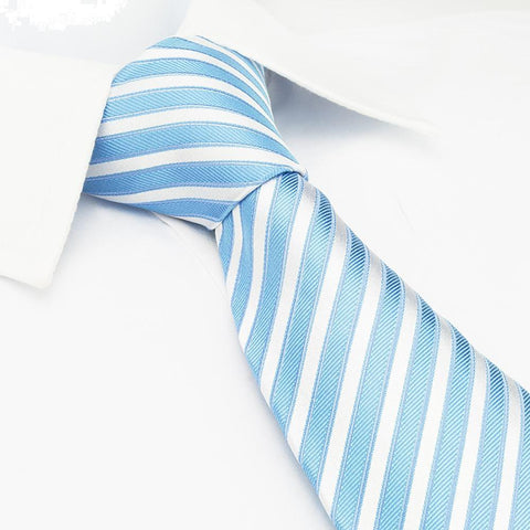 Sky Blue & White Striped Woven Silk Tie