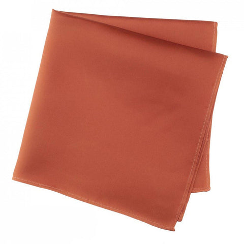 Plain Burnt Orange Silk Handkerchief