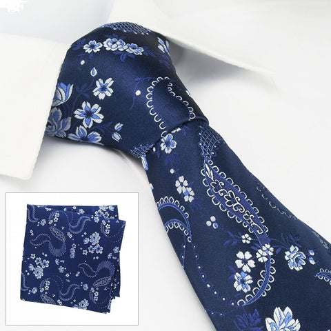 Navy & Light Blue Luxury Floral Silk Tie & Handkerchief Set