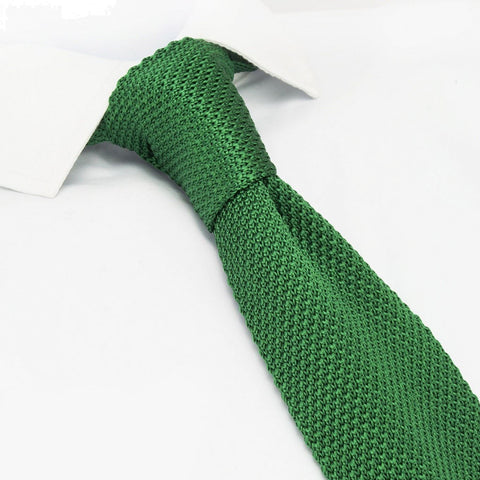 Emerald Green Knitted Square Cut Silk Tie