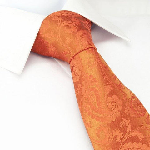 Classic Orange Paisley Silk Tie