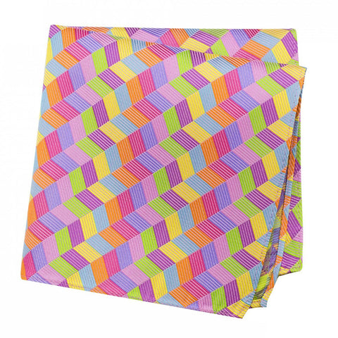 Multicoloured Chevron Silk Handkerchief