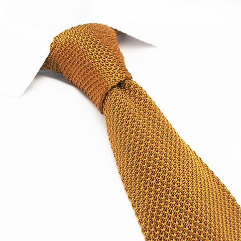Rusty Orange Knitted Square Cut Silk Tie