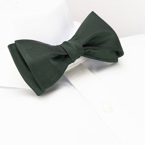 Self-Tie Plain Dark Green Silk Bow Tie