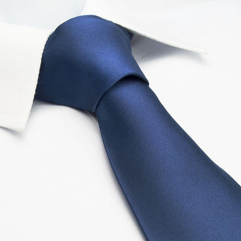 Plain Light Navy Silk Tie