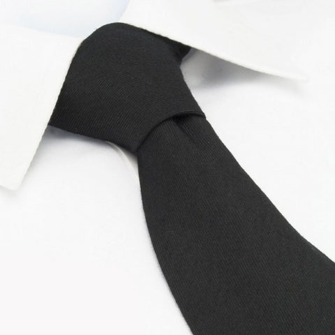 Plain Black Wool Mix Tie