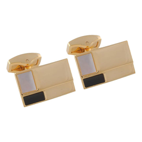 Acid Gold Ridged Onyx and Mother of Pearl Stone Cufflinks
