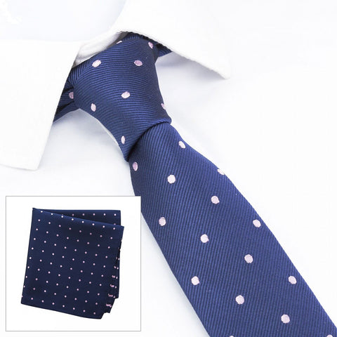 Navy & Pink Polka Dot Woven Slim Silk Tie & Handkerchief Set
