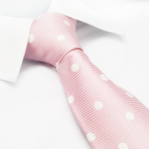 Pink Silk Tie With White Polka Dots