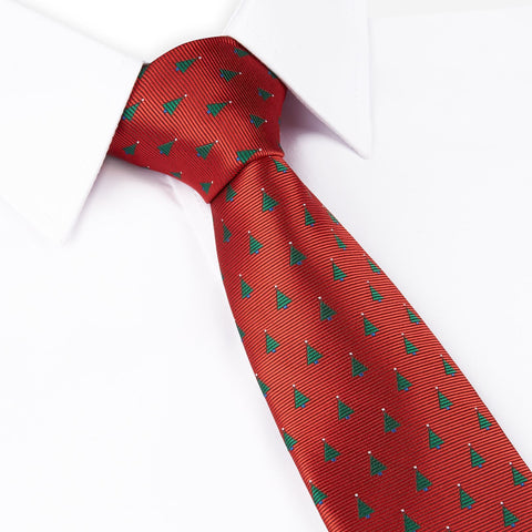 Red Christmas Tree Woven Tie