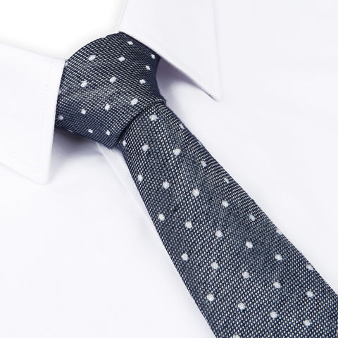 Navy Soft Touch Slim Spot Tie