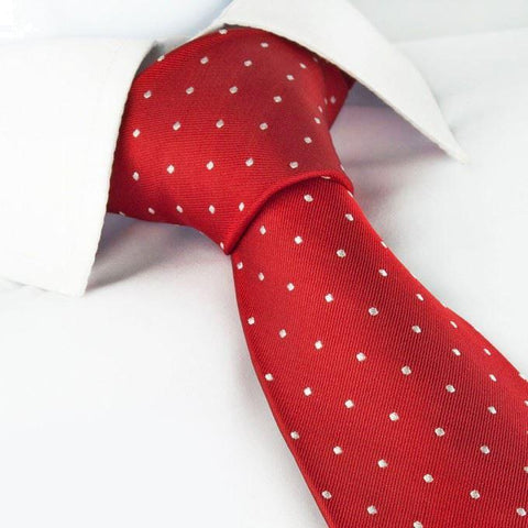 Red Polka Dot Woven Silk Tie