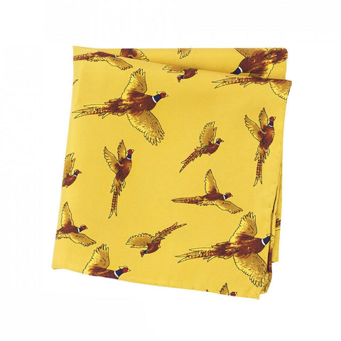 Mustard Flying Pheasant Silk Handkerchief