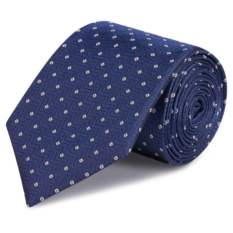 Blue Micro Flower Aztec Silk Tie