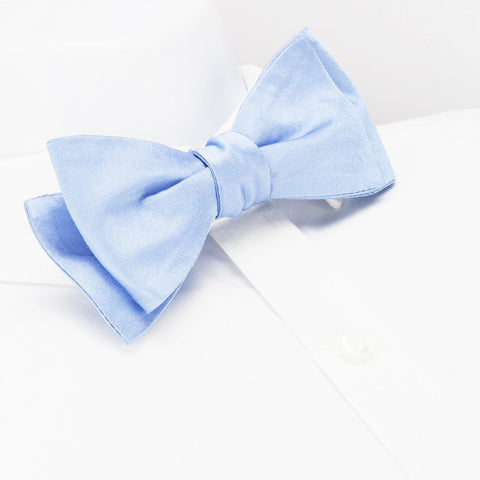 Self-Tie Plain Light Blue Silk Bow Tie