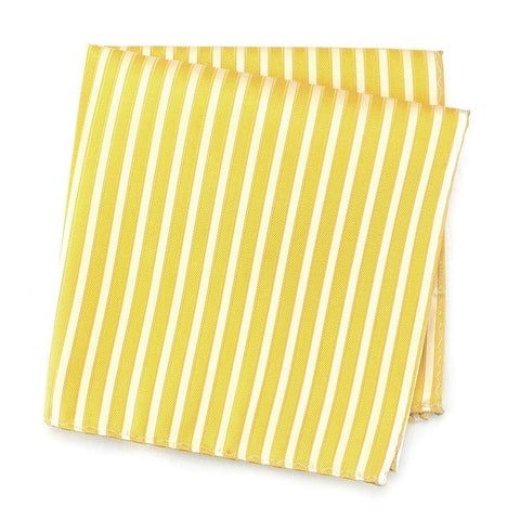Yellow and White Striped Silk Handkerchief
