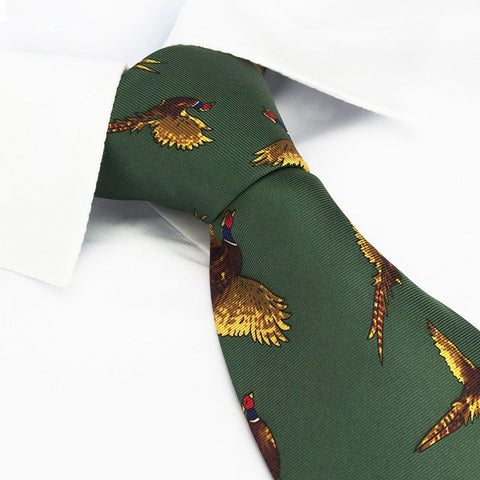 Forest Green Flying Pheasants Silk Tie