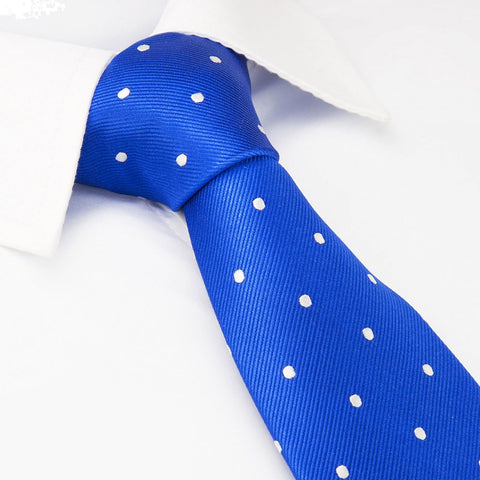 Royal Blue Polka Dot Woven Silk Tie