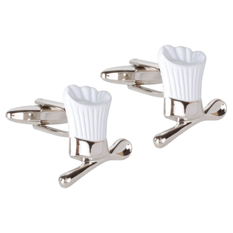 White Chef Hat & Spoon Cufflinks