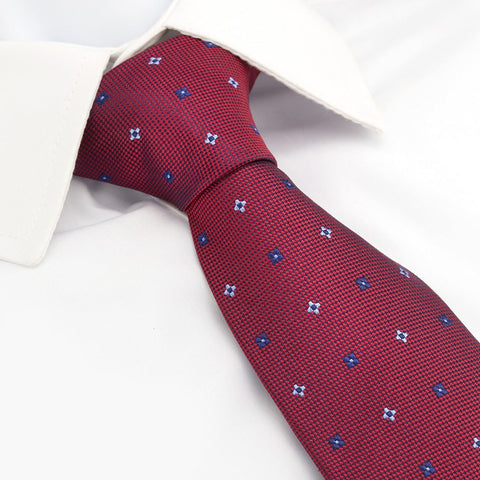 Dark Red & Navy Flower Spot Silk Tie