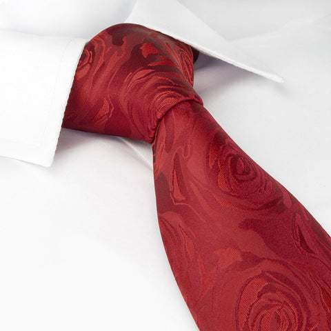 Red Rose Luxury Woven Silk Tie