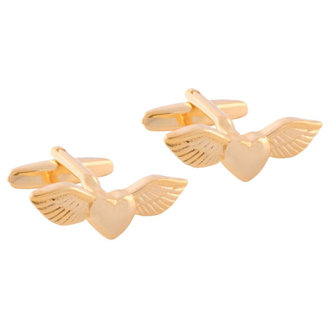 Gold Heart Wing Cufflinks