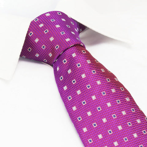 Magenta Square Patterned Silk Tie