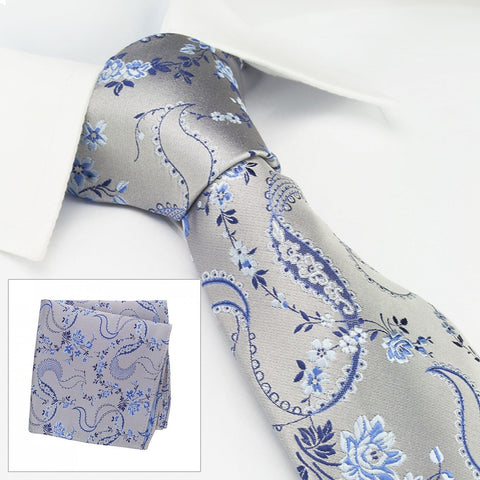 Silver & Blue Luxury Floral Silk Tie & Handkerchief Set