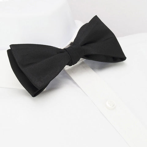 Self-Tie Plain Black Silk Bow Tie