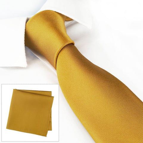 Slim Plain Gold Silk Tie & Handkerchief Set