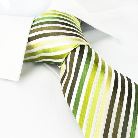Various Green Striped Woven Silk Tie