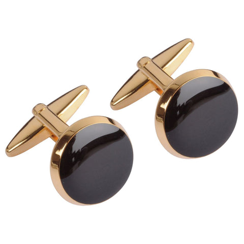 Gold Circle With Onyx Centre Cufflinks