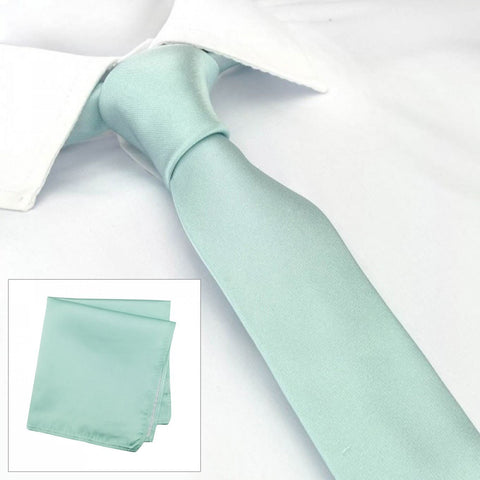 Plain Cyan Slim Silk Tie & Handkerchief Set