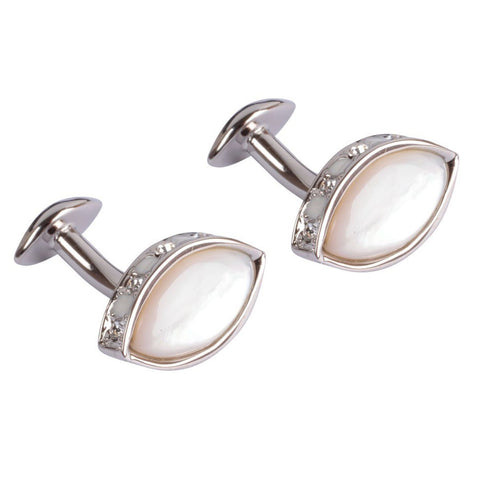 Mother of Pearl cufflinks with Swarovski Crystals