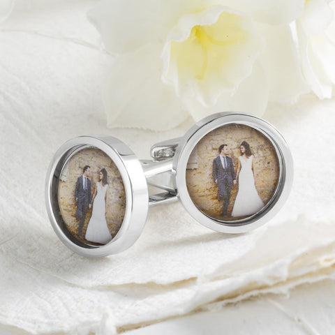 Circular Wedding Photo Cufflinks