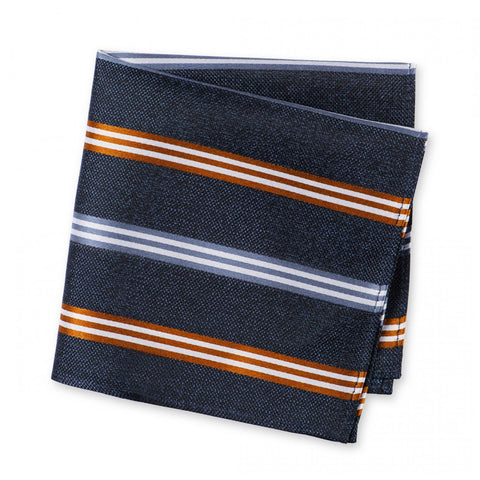 Blue & Burnt Orange Textured Silk Club Stripe Handkerchief