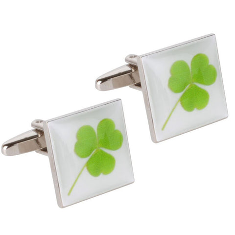 Enamel Three Leaf Clover Cufflinks