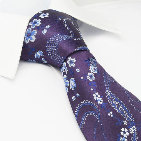 Purple & Silver Luxury Floral Silk Tie