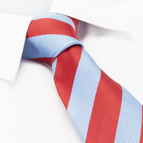 Red & Blue Woven Striped Silk Tie