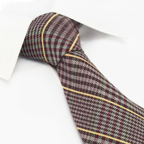 Red Tartan Wool Mix Tie