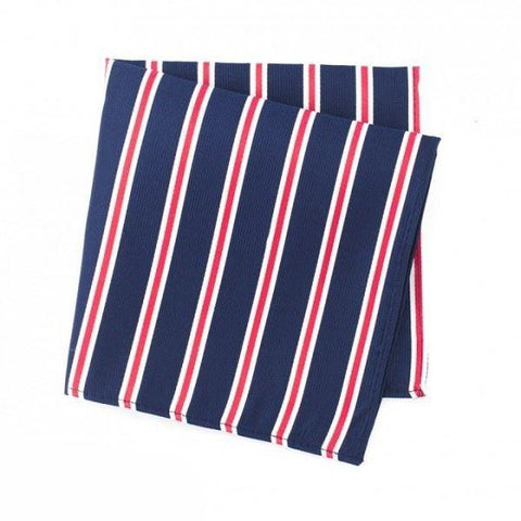 Navy Silk Handkerchief With Red And White Stripes