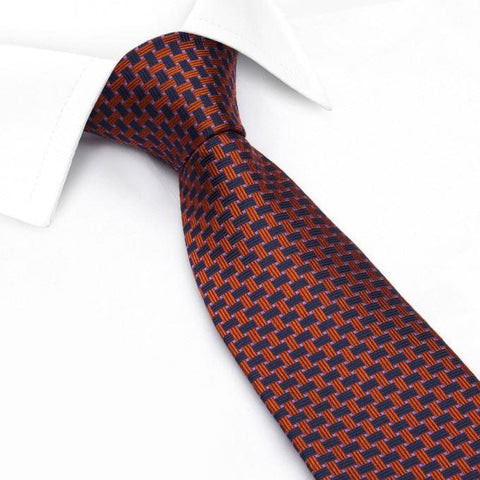 Navy & Orange Lattice Silk Tie