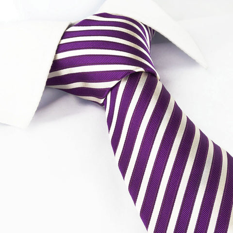 Thin Striped Purple And White Silk Tie