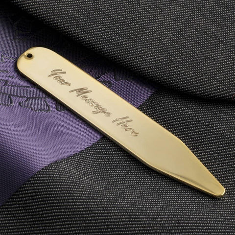 Engraved Gold Plated Collar Stiffeners